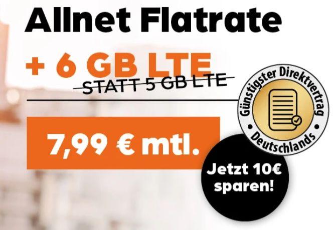 Vodafone Allnet Flat 6GB LTE für 7,99€mtl. + 50€ Rufnummern Bonus