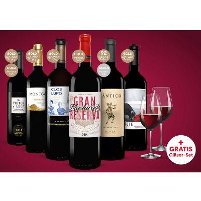 Vinos Rotwein-Paket: 6x Rotweine mit 2x Schott Zwiesel Ivento Gläser ab 24,99€ (statt 54€)