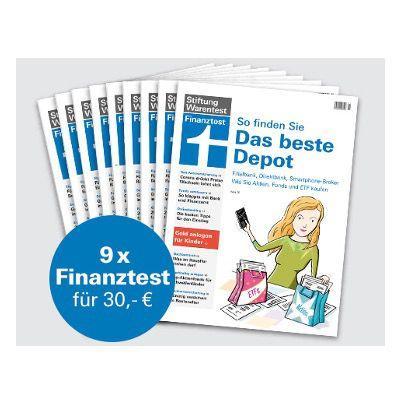 """9 Ausgaben Finanztest für 30€ + Buch """"Geldanlage für Anfänger"""" und Notizbuch gratis"""