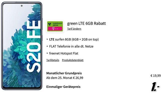 Samsung Galaxy S20 FE 128GB für 1€ + Vodafone Allnet Flat mit 6GB LTE für 19,99€ mtl.