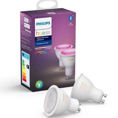 Philips Hue White & Color Ambiance GU10 Starter Kit (3 Lampen + Bridge) mit Bluetooth für 106,38€ (statt 138€)