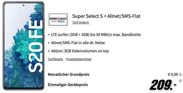 🔥 Samsung Galaxy S20 FE für 209€ + o2 Allnet Flat mit 6GB LTE für 9,99€ mtl.
