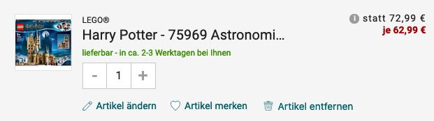 Lego Harry Potter   Astronomieturm auf Schloss Hogwarts (75969) für 62,99€ (statt 76€)