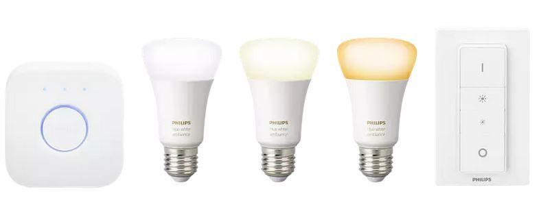 PHILIPS Hue White Ambiance Starter Kit 3 x LEDs, Bridge, Dimmer für 83,97€ (statt 148€)
