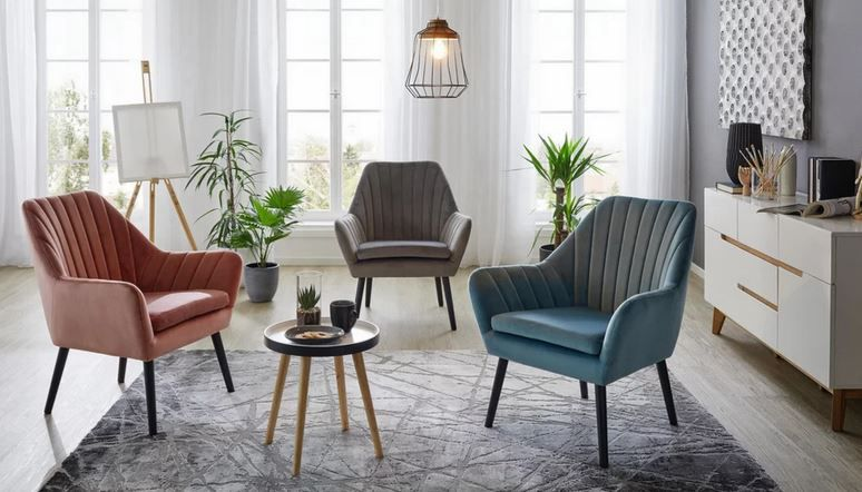 modern Living Sessel mit Samteffekt 3 Farben für je 77,70€ (statt 126€)