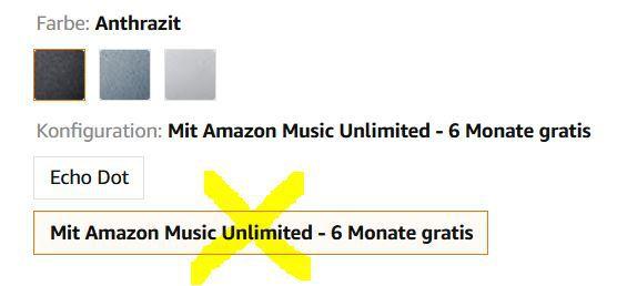 Echo Dot (4. Generation) + Amazon Music Unlimited (6 Monate) für 29,24 (statt 70€)