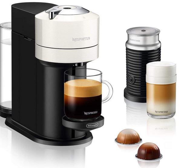 DeLonghi  Next ENV 120.WAE Nespresso Vertuo Kaffeekapselmaschine + Aeroccino Milchaufschäumer für 68,24€ (statt 112€)