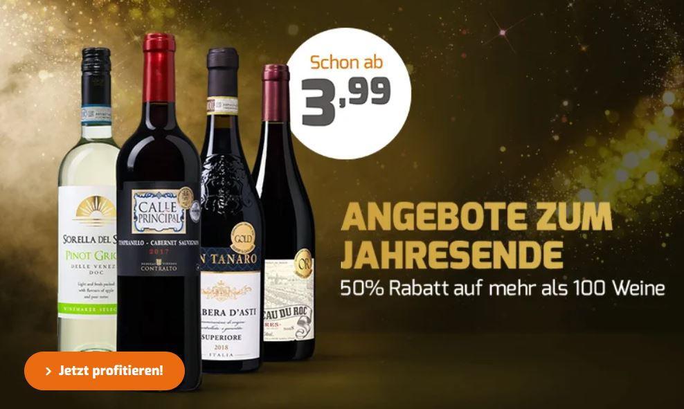 Weinvorteil mit 50% Rabatt auf über 80 ausgewählte Weine