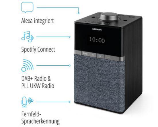 MEDION P66130 WLAN Internet DAB+ Radio mit Alexa, Multiroom für 43,73€ (statt 80€)