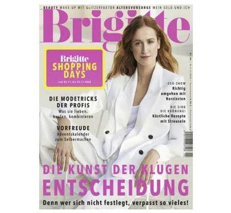 6 Ausgaben der Brigitte für 24€ + Prämie: 28€ Verrechnungsscheck