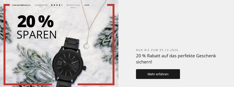 Christ mit 20% extra Rabatt auf ausgewählte Artikel z.B. Emporio Armani Chronograph für 265,68€ (statt 299€)