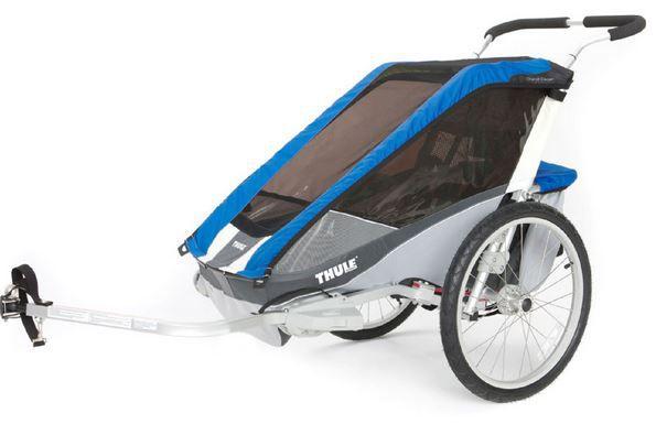 THULE Kinderfahrradanhänger Chariot Cougar 1 in blau und rot für 413,99€ (statt 755€?)