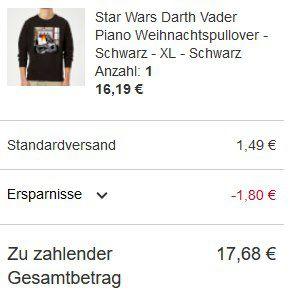 Xmas Pullover bei Zavvi – z.B. Star Wars Darth Vader Piano für 17,68€ (statt 28€)