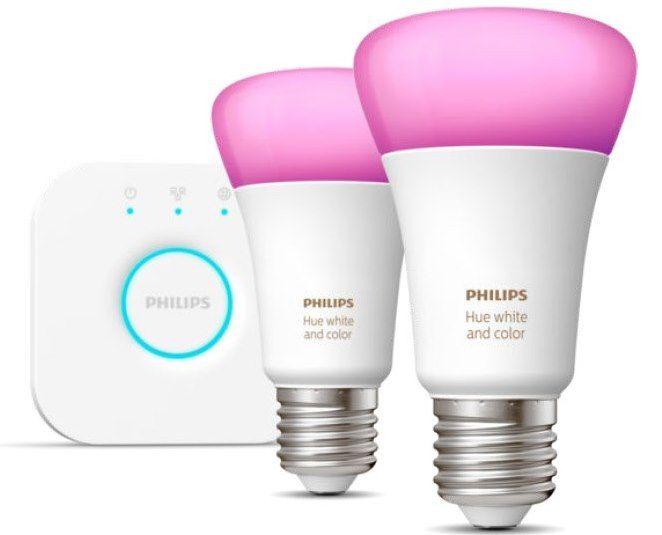 Philips hue White & Color Ambiance Starter Set: 2 x E27 + Bridge für 89€ (statt 100€)