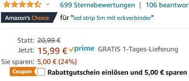 TECKIN 5m LED Streifen Selbstklebend mit Fernbedienung & Netzteil für 10,99€ (statt 16€)