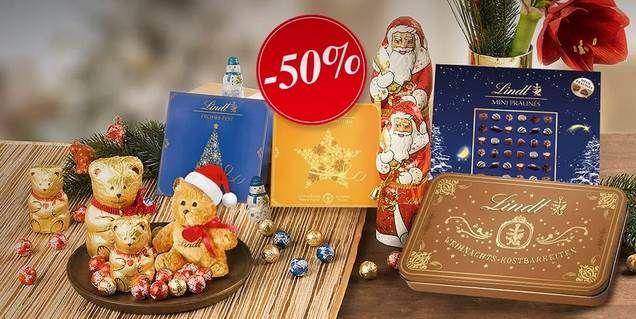 Lindt: 50% Rabatt auf Weihnachtsartikel   z.B. 1,1kg Goldglocke für 16,17€ (statt 33€)