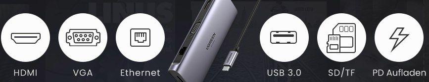 UGREEN 9in1 USB C Hub mit 100W PD für 49,99€ (statt 70€)