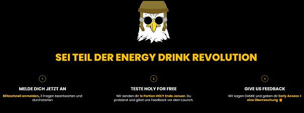"Energy Drink kostenlos ""Holy Energy"" ausprobieren"