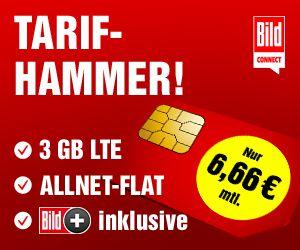 BILDplus + o2 Allnet-Flat mit 3GB LTE für 6,66€ mtl. – auch ohne Laufzeit