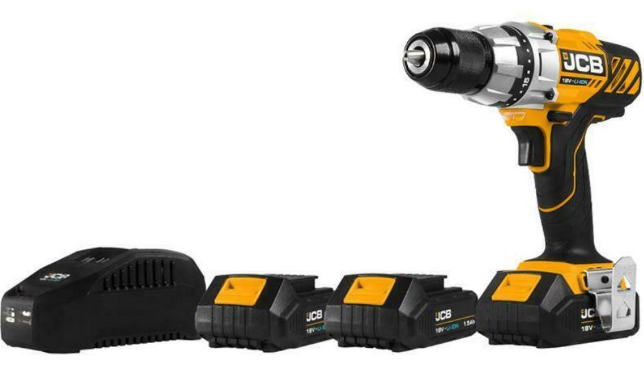 JCB Akku Bohrschrauber 18V + 3x 1,5 Ah Li Ion Akkus + Ladegerät + Tasche für 59,95€ (statt 103€)