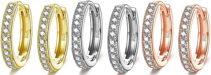 NINAMISS Damen Ohrringe aus 925er Silber mit Zirkonia in 3 Farben für je 9,99€ (statt 24€)   Prime