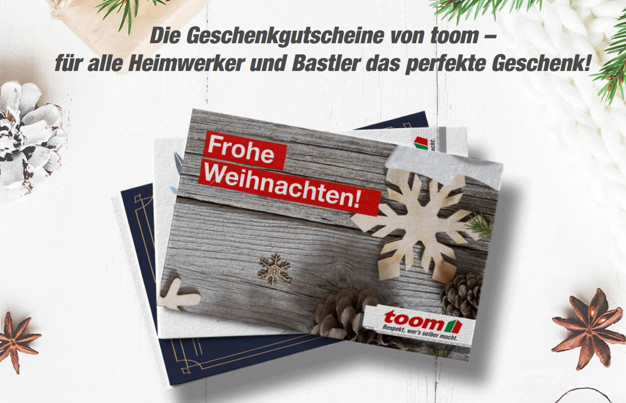 Nur heute: 10€ extra Gutschein für jeden 50€ Toom Baumarkt Geschenk Gutschein