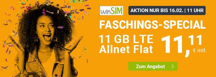 Allnet Flat im O2 Netz von winSIM mit 11GB LTE für 11,11€mtl. + 10€ Wechselbonus