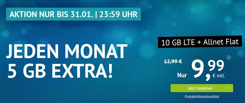 AllNet & SMS Flat + 10GB LTE für 9,99€ (mtl.) O² Netz