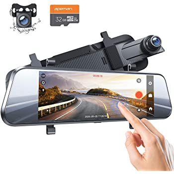 Apeman C750   1080p Dual Rückspiegel Dashcam inkl. 32GB Karte für 59,99€ (statt 80€)