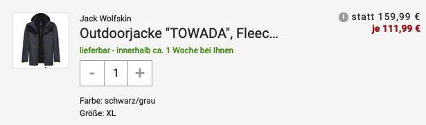 Jack Wolfskin Towada Herren Outdoorjacke mit Fleece Innenjacke für 111,99€ (statt 160€)