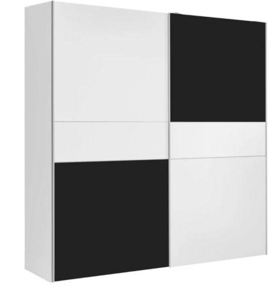 Schiebetürenschrank aus Holzdekor in Weiß/Schwarz Matt mit 170cm Breite für 125,30€