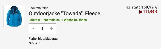 Jack Wolfskin Outdoorjacke Towada mit Fleece Innenjacke in Blau für 111,99€ (statt 160€)   S bis L