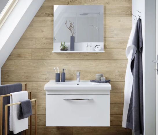 Waschtischkombi Luna mit Melaminbeschichtung inkl. Spiegel für 180,25€ (statt 255€)