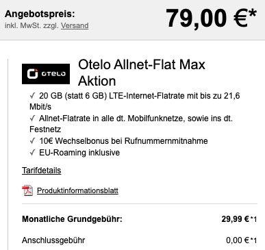 Samsung Galaxy S20 5G für 79€ + 6 Monate Spotify gratis + Vodafone Allnet Flat von otelo mit 20GB LTE für 29,99€ mtl.