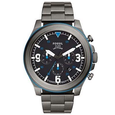 FOSSIL Chronograph Latitude FS5753 aus grauem Edelstahl für 65,80€ (statt 189€)