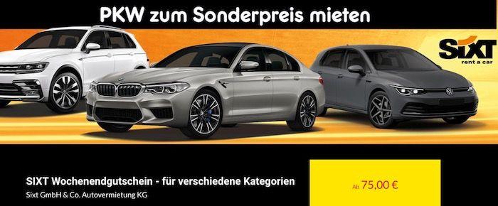 Gutschein für eine Wochenendmiete bei Sixt   z.B. 3 Tage VW Golf für 75€ inkl. Versicherung