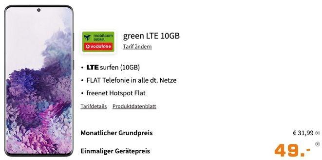Galaxy S20 Plus 128GB für 49€ + Vodafone Flat mit 10GB LTE für 31,99€ mtl.