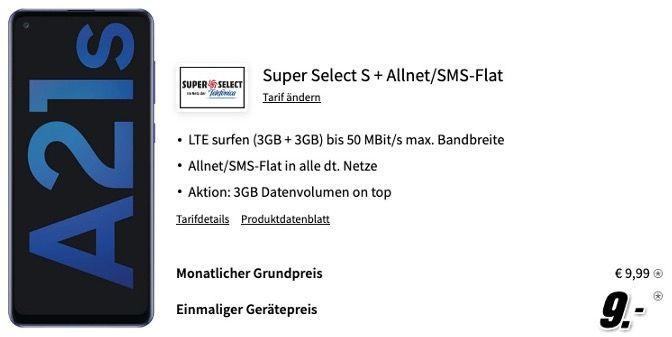 Samsung Galaxy A21s 32GB für 9€ mit O2 Allnet Flatrate inkl. 6GB LTE für 9,99€ mtl.