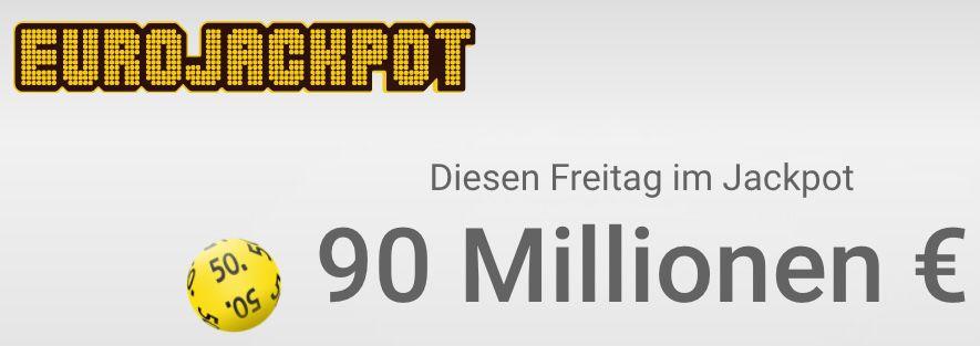 90 Mio. Jackpot: 2 Eurojackpot Felder für nur 1€   Neukunden