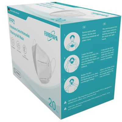 20er-Pack FFP2 Einweg-Atemschutzmasken CE & DEKRA von EUROPAPA für 21,89€ (statt 29€)