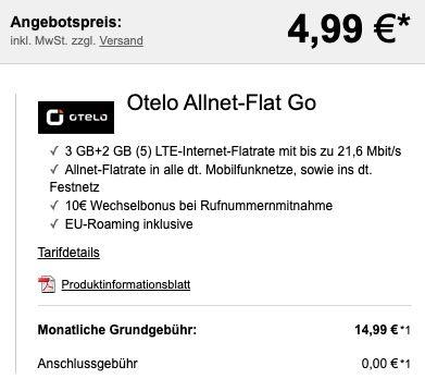 Sony Xperia 10 II + 10€ Amazon für 4,99€ + Vodafone Allnet Flat von otelo mit 5GB LTE für 14,99€ mtl.
