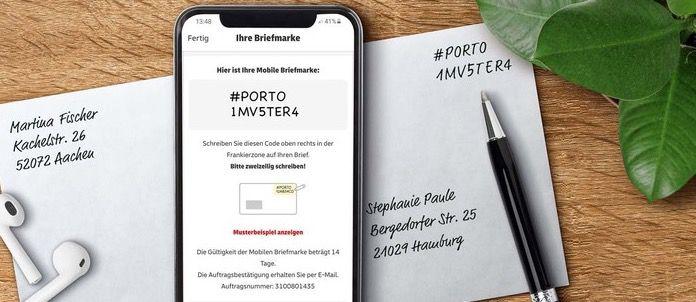 Die mobile Briefmarke der Deutschen Post   über die Post & DHL App ohne Registrierung