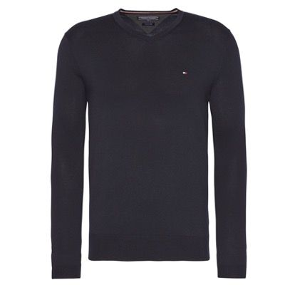 Tommy Hilfiger V-Ausschnitt-Pullover Core Cotton Silk für 64,98€ (statt 96€)