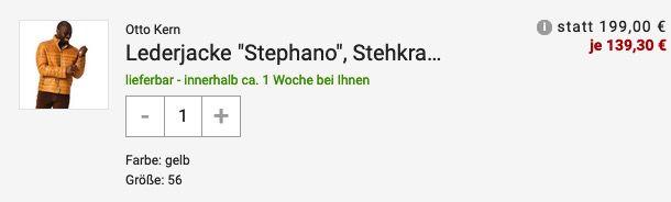 Otto Kern Herren Lederjacke Stephano mit Außentaschen für 139,30€ (statt 200€)   48 & 52