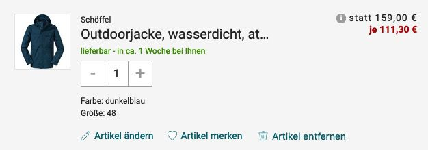 Schöffel Herren Outdoorjacke M ZipIn! Imphal in Moonlit Ocean ab 111,30€ (statt 156€)