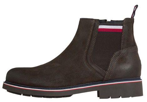 Tommy Hilfiger Corporate Elastic Suede Chelsea Boots in Blau oder Braun für 76€ (statt 120€)