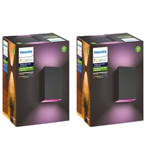 2er Pack Philips Hue Resonate Outdoor Wandleuchten + Bridge für 204,49€ (statt 271€)