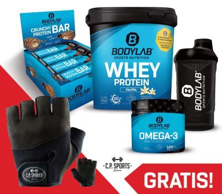 1kg Bodylab24 Whey Protein + 12x Crunchy Protein Bar + 120 Kapseln Omega 3 + Shaker + Handschuhe für 40€ (statt 51€)