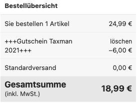 Taxman 2021 (für das Steuerjahr 2020) für 18,99€ (statt 24€)