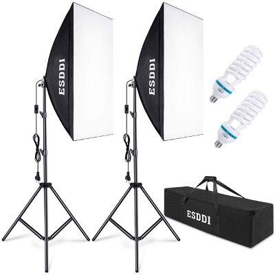 ESDDI Softbox Beleuchtungs-Set mit 2x 50×70 cm Studioleuchten mit 85W für 45,21€ (statt 77€)